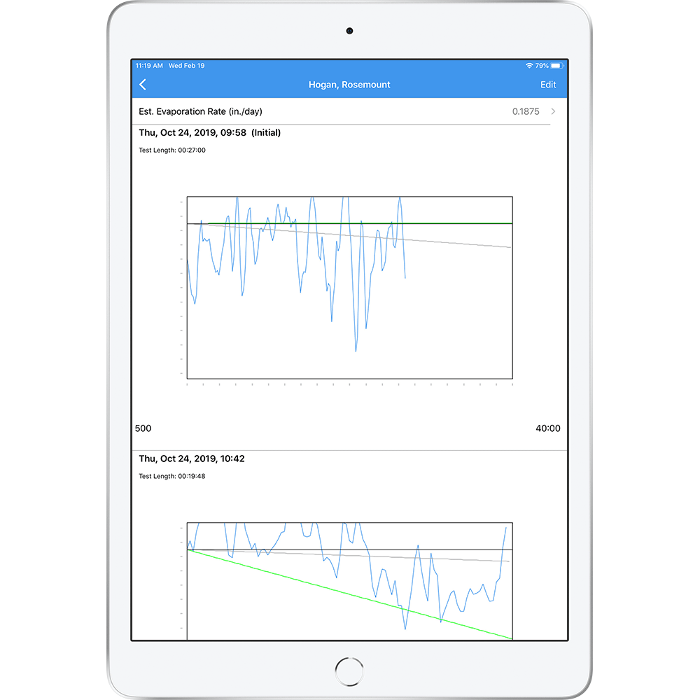Mockup of the Leakalyzer app in an iPad