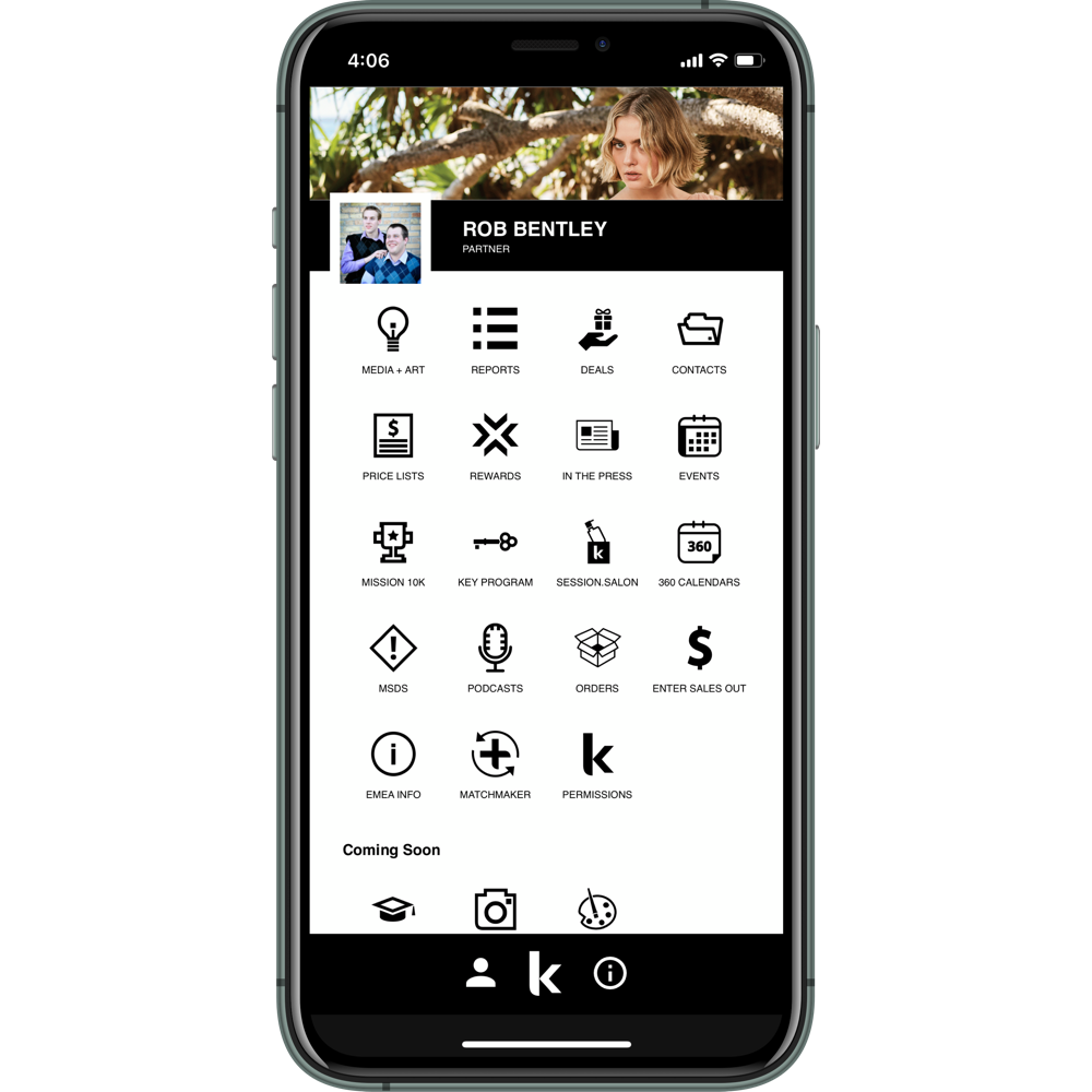 Mockup of the Kevin Murphy ALL ACCESS app in an iPhone 11